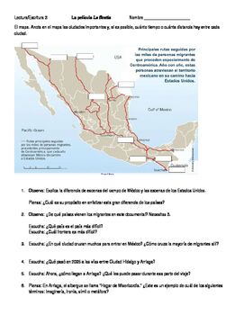 Movie worksheet - La Bestia (shown in Spanish)