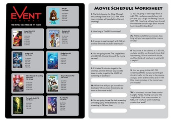 Movies - Elapsed Time Worksheet