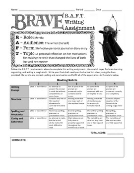 Movies as Literature: Disney - Pixar's Brave R.A.F.T. Writing Assignment