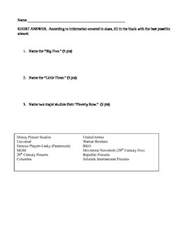 Movies of the silent era notes and quiz to go along with powerpoint