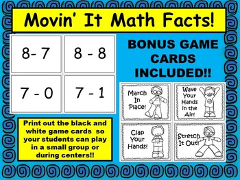 Movin' It Math Facts: Subtraction Facts Within 10