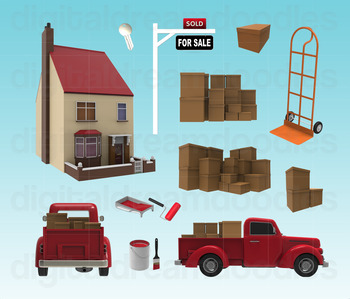 Moving Day Clipart - Sold House Digital Graphics
