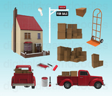 Moving Day Clipart - Sold House Realtor Digital Graphics