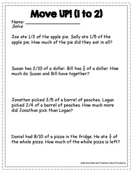 Moving Kids UP! Add and Subtract Fractions Word Problems