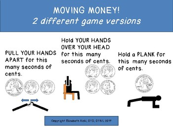 Moving Money Game Gross Motor Counting Coins math Brain Break 54 cards 2 games