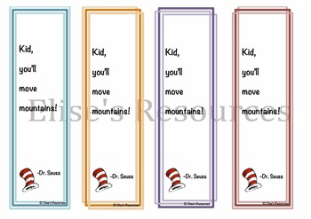 Moving Mountains! Dr Suess Bookmarks