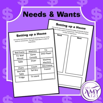 Moving Out Budgeting Activity- Money, Financial Planning, Needs & Wants