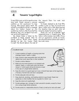 Moving Out on Your Own: Solving Common Problems-Tenants' Legal Rights