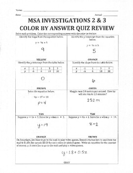 Moving Straight Ahead Investigations 2 & 3 Quiz Review