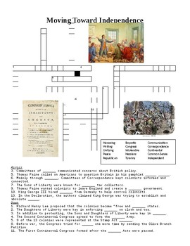 Moving Toward Independence Crossword or Web Quest