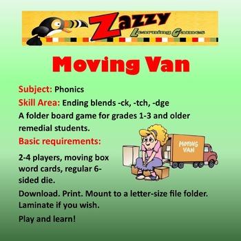 Moving Van Folder Game Phonics -ck, -tch, -dge