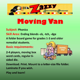 Moving Van Folder Game Phonics -ck, -tch, -dge