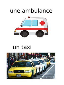 French: Moyens de transport: Cartes éclairs, Core & PR French Immersion PRIMAIRE