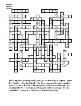 Mozaik 1 Kapitel 3B Partner puzzle Speaking activity