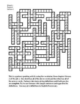Mozaik 1 Kapitel 4A Partner puzzle Speaking activity