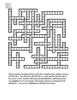 Mozaik 1 Kapitel 4B Partner puzzle Speaking activity