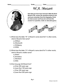 Mozart Biography Quiz