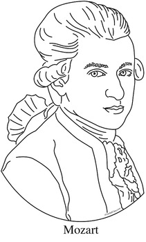 Mozart Clip Art, Coloring Page, or Mini-Poster
