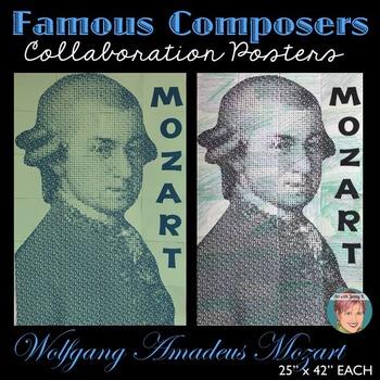 Mozart Collaboration Portrait Poster - Famous Musicians Series