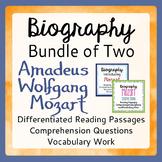 Mozart Differentiated Biography BUNDLE Texts, Activities Grades 4-9