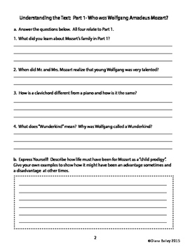Mozart Biography Reading Passages Activities