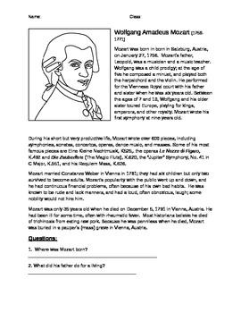 Mozart Information Worksheet, Biography