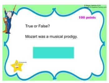 Mozart Trivia Game - Elementary Music - Composer Jeopardy Series - Smart Board
