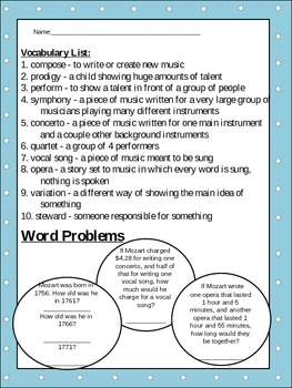 Mozart Unit: Biography, Creative Writing, Word Problems, Sequence, Connect Dots