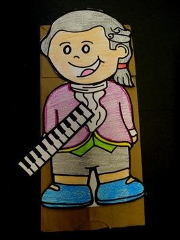 Mozart paper bag puppet pattern