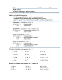 Mr. A's Class Algebra Variables & Expressions