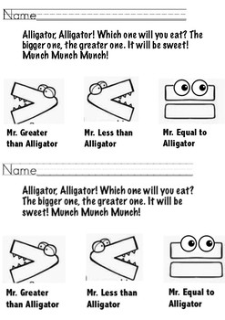 Mr. Alligator Greater Than and Less Than