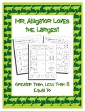Mr. Alligator Loves the Largest ~ No Prep Printables ~ Equ