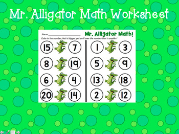 Mr. Alligator Comparing Numbers Math