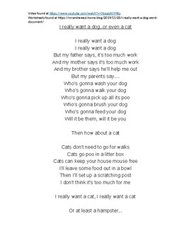 Mr Andrew ESL-I Really Want a Dog (song worksheet/ links to video/instructions)