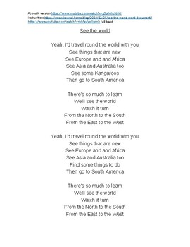 Mr Andrew ESL-See the World (song worksheet and links to video and instructions)