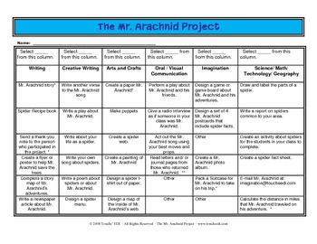 Mr. Arachnid Project {Student Activity Choices}