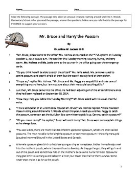 Mr. Bruce and Harry the Possum Common Core Reading Comprehension