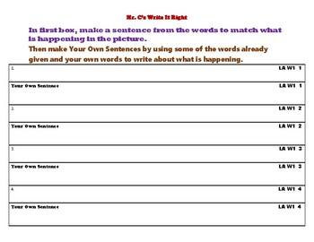 Mr. C's Write It Right (Level A Week 1)