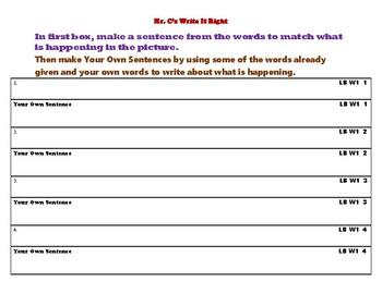 Mr. C's Write It Right (Level B Week 1)