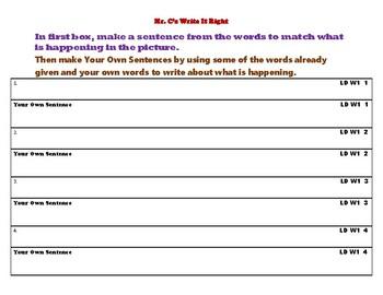 Mr. C's Write It Right (Level D Week 1)