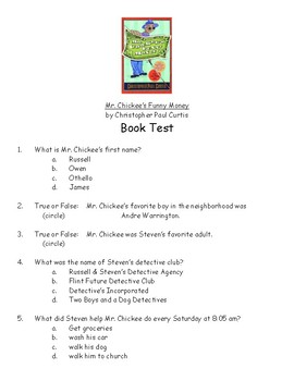 Mr. Chickee's Funny Money by Christopher Paul Curtis book test and answer key