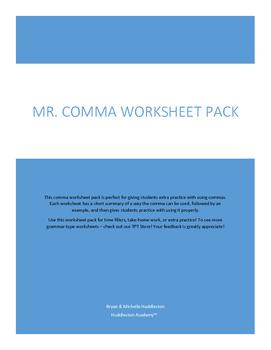 Mr. Comma Worksheet Pack
