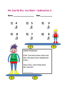 Mr. Cool & Mrs. Hot Math Numbers 1-10 Addition and Subtraction Worksheets