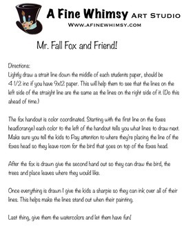 Mr. Fall Fox and Friend Art Lesson