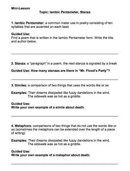 Mr. Flood's Party by Edwin Arlington Robinson Analysis Activities