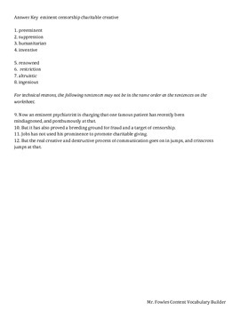 Mr. Fowles General Content Vocabulary Builder 5