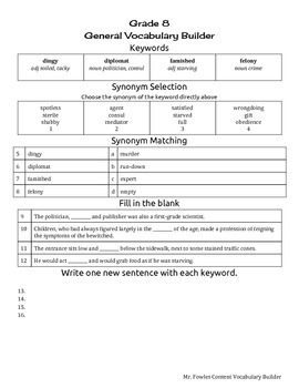 Mr. Fowles General Content Vocabulary Builder 7