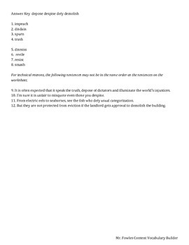 Mr. Fowles General Vocabulary Builder 2