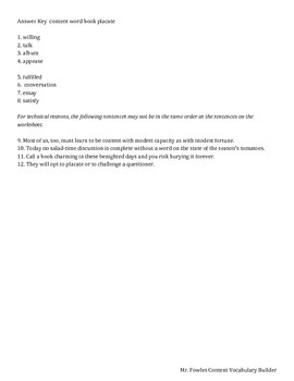 Mr. Fowles General Vocabulary Builder Free Sample