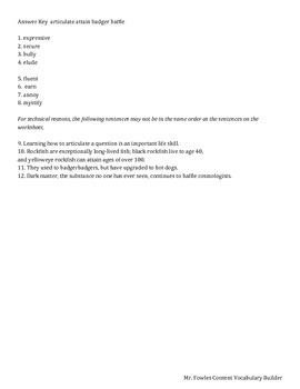 Mr. Fowles Grade 8 General Vocabulary Builder 6